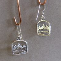 Square Mountain Charm Earrings