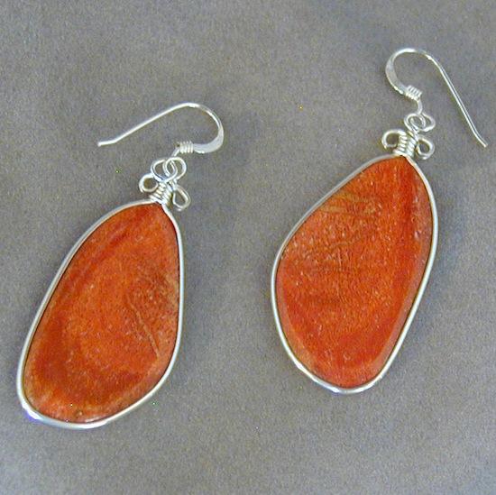coral silver slab earrings