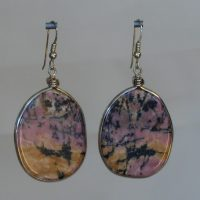 Rhodochrosite  Slab Earrings
