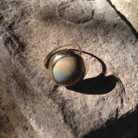 14K Gold Polychrome Jasper Ring
