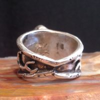 Elk Ivory Ring Sterling with Antler accents