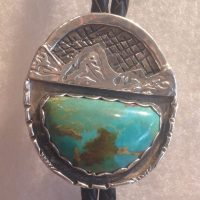 Oval Tetons with Turquoise Bola Tie