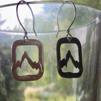 Cut Out  Sterling Mountain Earrings
