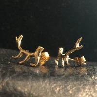 14K Gold Filled Elk Antler Post Earrings