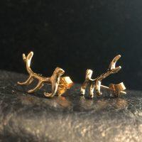 14K Gold Filled Elk Antler Post Earrings