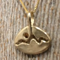14K Yellow  Gold Mountain Pendant Necklace