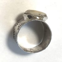 Elk Ivory Ring in Wide Sterling Band East West #1
