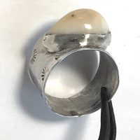 Elk Ivory Ring in Wide Sterling Band East West #2
