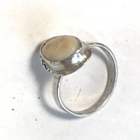 Stamped Naked Reveal Elk Ivory Ring Sterling #2