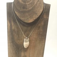 Whole Elk Ivory Sterling Pendant Necklace